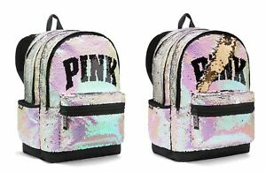 Victoria's Secret PINK CAMPUS Backpack Iridescent BLING Gold Sequins Sequined XL