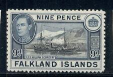 FALKLAND ISLANDS 90 SG157 MH 1938-46 9p bl&blk KGVI Ship William Scoresby Cat$15