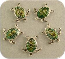 2 Hole Beads Sea Turtles Loggerhead OCEAN Sand BEACH Jewelry Bracelet Charm Qty5