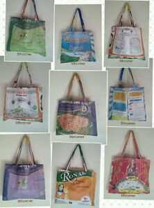RECYCLE Rice Sack Eco-Friendly Tote Messenger Bag Shopping Shoulder Handmade