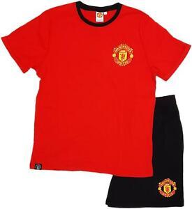 Mens Man Utd Short Pyjamas Pjs Manchester United T-Shirt Set Football Gift