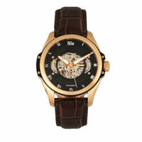 Reign Henley Automatic Semi-Skeleton Dial Black Leather Men's Watch RN4506