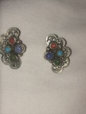 Sterling Earrings Signed L Four different color stones all original