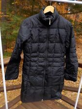 Lands End Women's Ladies M Goose Down Long Reversible Puffer Black Jacket Coat