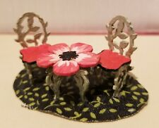 1:48 inch scale miniature FLOWER TABLE and CHAIRS