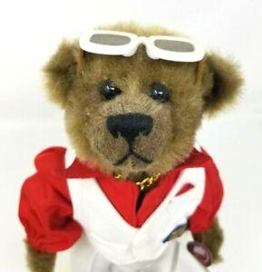"Brass Button Bears 1999 20th Century 1970's Nick Bear w/ Stand 12"" Plush EUC"