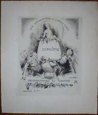 Georges VILLA:Diplôme de la Reconnaissance du Ventre.Gravure eau-forte.Cuisine