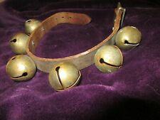 "Antique Sleighbells 6 Bells on Leather Strap 1.5"" x 1.5"""