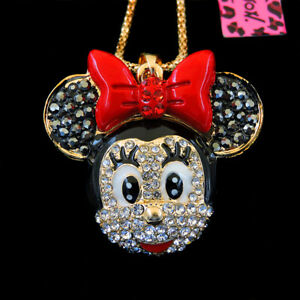 Betsey Johnson Women Cute Red Crystal Mouse Head Pendant Sweater Chain Necklace