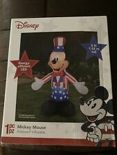 New!Airblown 5ft Disney Mickey Mouse Inflatable Patriotic 4th of July Lights Up