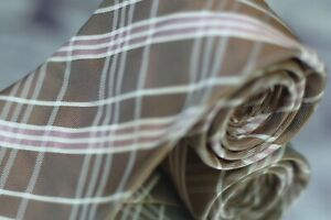 Altea Milano Men's Tie Gold and Bone Check Luxury Silk Necktie