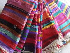 Indian Rag Rug 4x6 Oriental Carpet Vintage Dhurrie Hand Loomed Rug Multi Color