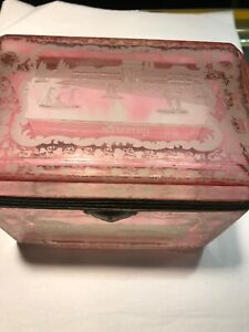 Austrian Cranberry Glass Etched Antique Casket