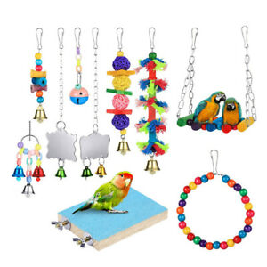 10pcs Parrot Toy Creative Stand Bite Toy Swing Cage Accessories for Bird Parrot