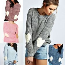Women's Winter Cute Heart Pattern Elbow Patchwork Thin Knit Sweater Pullover Hot