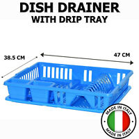 Dish Drainer Dry Rack Plate Bowl Cutlery Sink Holder Storage Dryer Tray Blue