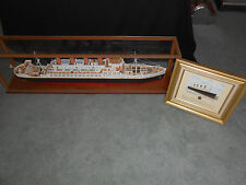 """RMS Titanic Cruise Ship 43"""" Built Wooden Model by """"Phil Neilson"""" in case"""