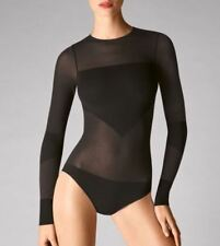 WOLFORD OPAQUE TRANSPARENT NATURE BODY 76043, BODYSUIT, S, in black, New in box