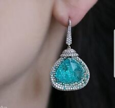 Aquamarine Blue Stone Trillion Dangle Women Earrings In 925 Sterling Silver