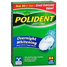 Polident Overnight Whitening, Antibacterial Denture Cleanser Triple Mint 84 ea