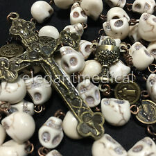 Catholic Vintage XL 10MM howlite skull beads Rosary Cross crucifix Necklace