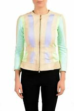 Just Cavalli 100% Leather Trim Multi-Color Women's Basic Jacket US S IT 40