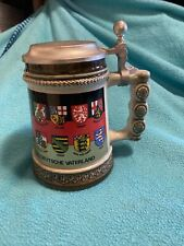 Gerz Germany Lidded Beer Stein Mug withTowns Coats of Arms