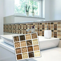 18Pcs 3D Mosaic Tile Wall Stickers Self-adhesive Home Bathroom Kitchen Decors