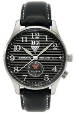 Junkers Iron Annie JU52 Mens Dual Time Leather Date Watch 6640-2