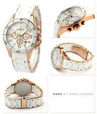 NEW MARC JACOBS ROCK PELLY ROSE GOLD TONE,WHITE SILICONE WRAPPED WATCH-MBM2547