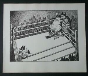 B Kliban Cat FIGHT NIGHT CAT Boxing Mouse vintage funny cat art print