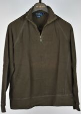 Ralph Lauren Mens 1/2 Zip Brown Cotton Pullover Sweater Size M