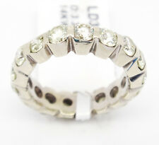Brilliant 14k White Gold VS2-SI2 H-K 3.32ct Diamonds Bezel Set Eternity Band,6.5