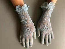 Vintage pale blue crochet lace gloves