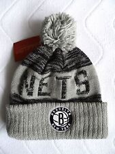 BROOKLYN NETS Mitchell & Ness New York BOBBLE BEANIE TUQUE Hat NBA Toque OSFA