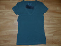 Neues ONLY Damen Shirt Twist V-Neck Basic-T-Shirt Gr. S Olivgrün NEU/OVP