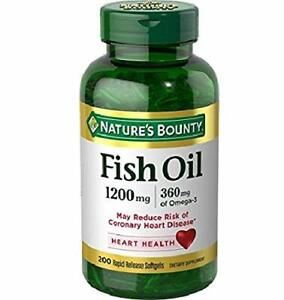 Nature's Bounty Fish Oil, 1200mg, 360mcg of Omega-3, 200 Count (Pack 1)