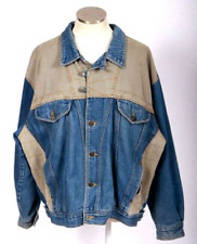 Vtg 1990s Jean Jacket Tan Blue Denim Southwest Flannel Lined Trucker Mens Size M