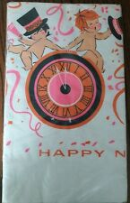 """Nos Vtg Futura Happy New Years Paper Tablecloth Pink, Baby, Top Hats 54"""" x 96"""""""