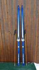 """GREAT Wooden 79"""" Skis Has  Blue and White Finish + Bamboo Poles"""