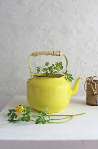 Teekanne Teekessel M Wasserkessel Gelb Shabby Übertopf Blechkessel Vintage Ø12cm