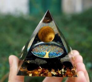 3D Orgonite Pyramid Chakra Crystal Energy Meditation Amethyst Orgone Stone