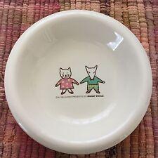 Ayumi Ohashi Illustrated Bowl MISTER DONUT Dish Whimsical Cat & Dog Pottery H3