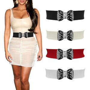 Diamante Bow Buckle Elastic Cinch Dress Stretch Party Waist Belt Sizes 6 - 32