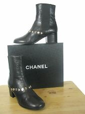 NIB CHANEL BLACK LEATHER ANKLE BOOTS ICONIC CHARMS sz 38.5