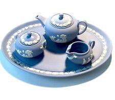 RARE!  Wedgwood Miniature Tea Set In Blue and White Jasperware