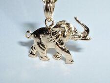 14k YELLOW GOLD 3D ELEPHANT CHARM PENDANT