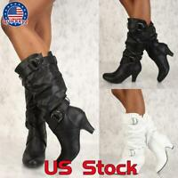 Women's Ladies Winter Leather High Heels Knee High Boots Riding Biker Shoes Size