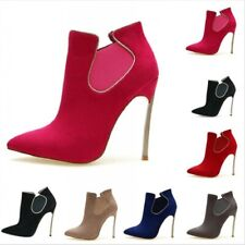 Womens Ladies Metallic Ankle Boots Slim High Heel Pointed Toe Shoes 6 Colors B