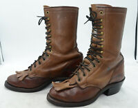 Olathe Boot USA Womens Sz 7 Leather Heavy Duty Packer Lacer Western Work Boots